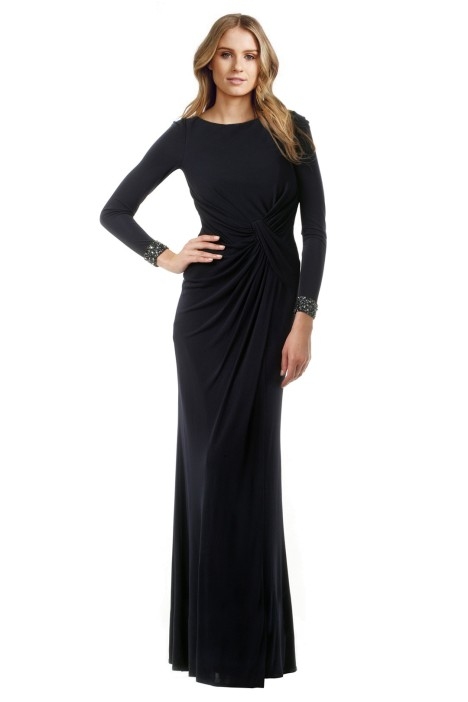 David Meister - Cuff Out Back Gown - Front - Navy