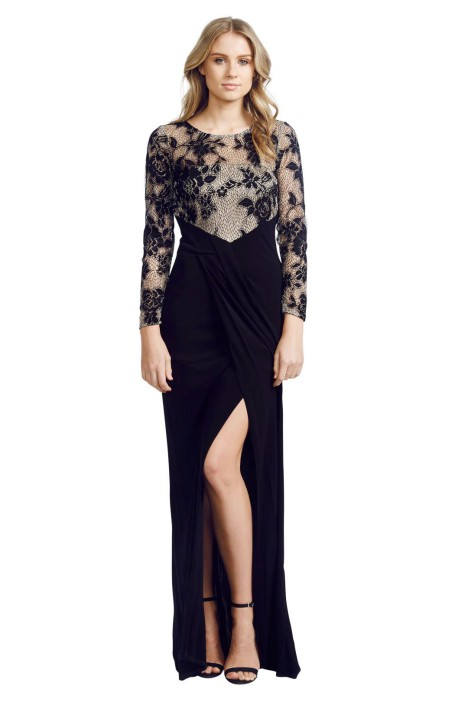 David Meister - Illusion Lace Gown - Front - Black