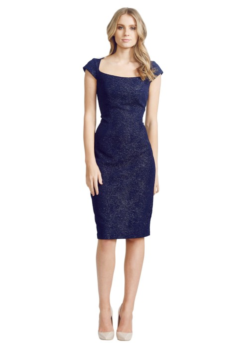 David Meister - Jacquard Dress - Front - Blue