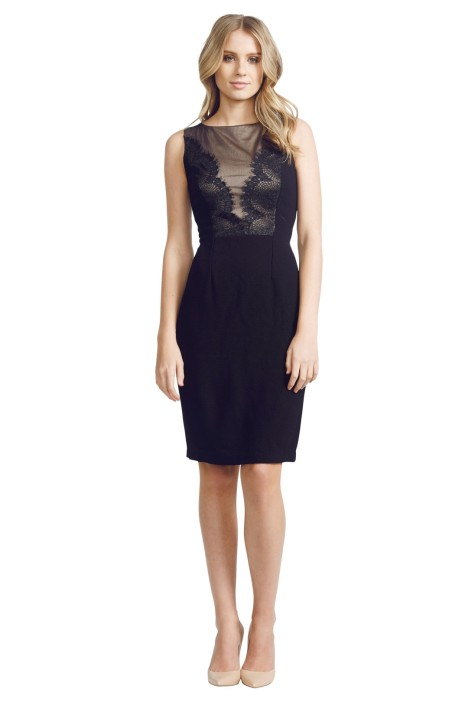 David  Meister  - Lace Panel Dress - Black - Front