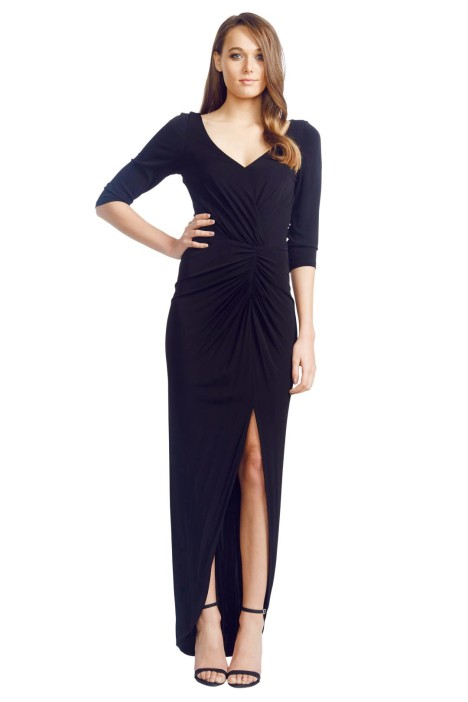 David Meister - Lace Wrap Gown - Black - Front