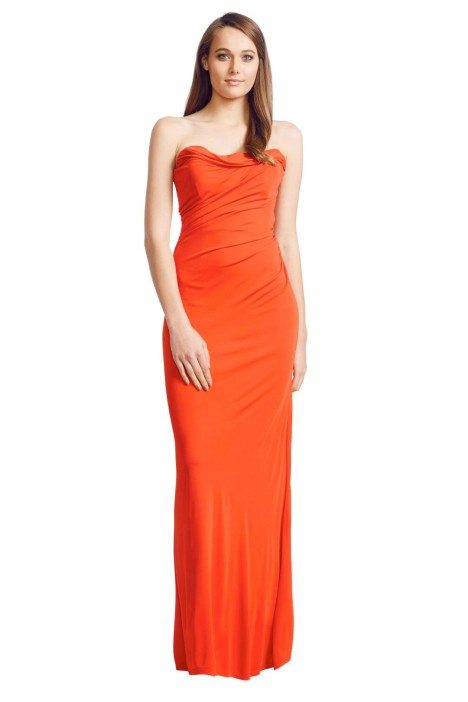 David Meister - Red Ruched Gown - Front - Red