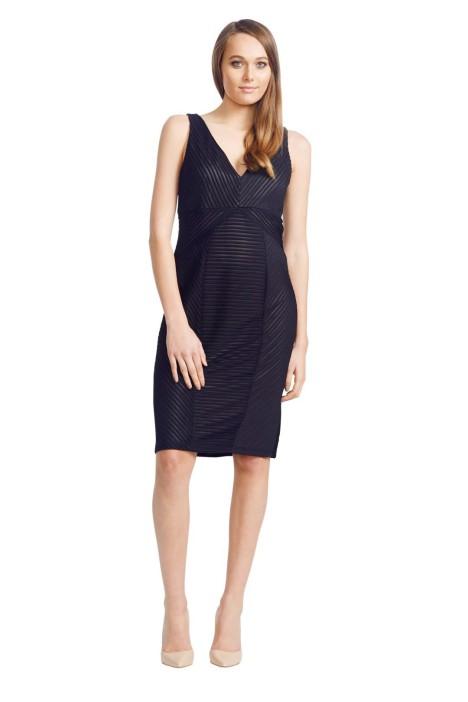 David Meister - Ribbed Knit Dress - Black - Front