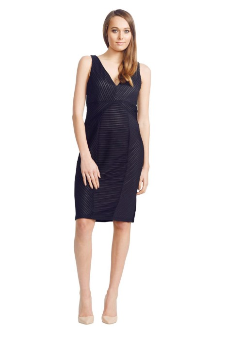 David Meister - Ribbed Knit Dress - Front - Black