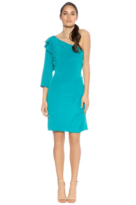 Diane Von Furstenberg - Cobb Stretch Silk One Shoulder - Front - Teal