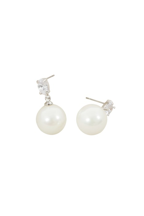Adorne - Faux Pearl Drop Mini CZ Crystal Stud Earring