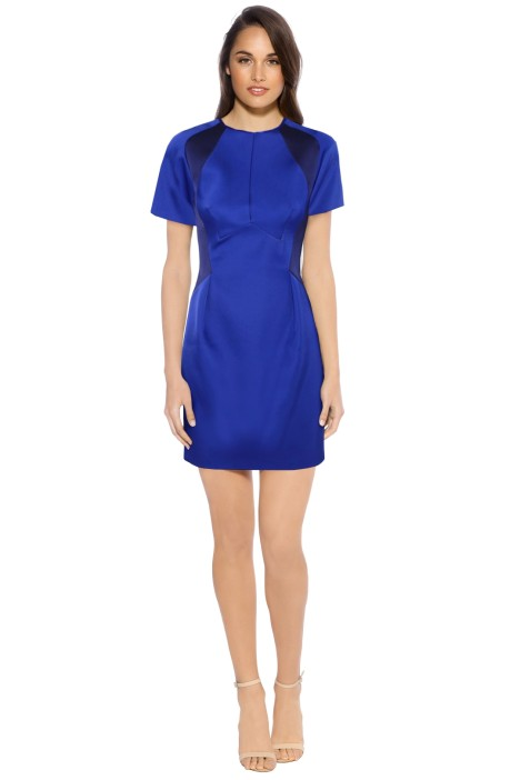 Dion Lee - Bonded Satin Mini Dress - Front - Blue