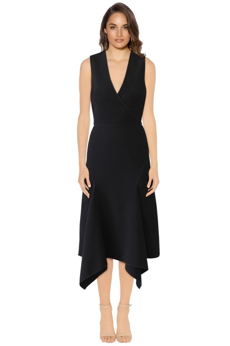 Dion Lee II - Black Crepe V Neck Dress - Black - Front