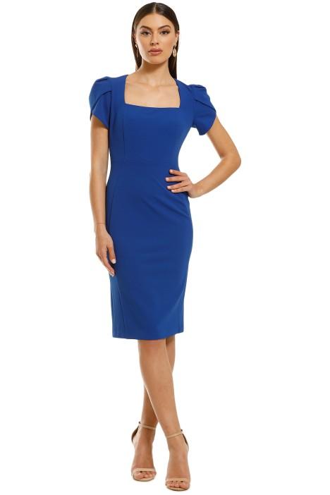 Donna-Morgan-Short-Sleeve-Crepe-Sheath-Dress-Blue-Sapphire-Front