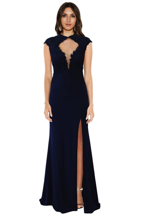 Rose Noir - Midnight Navy Lace Gown - Front