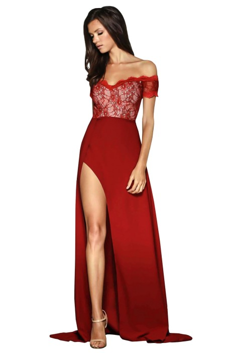 Elle Zeitoune - Montana Gown - Red - Front