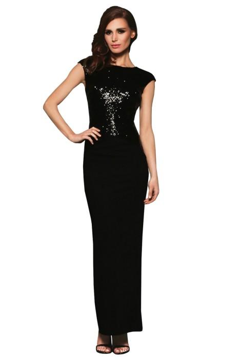 Elle Zeitoune - Ruby Black Gown - Front