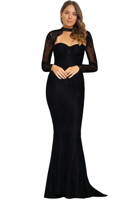 Elle Zeitoune - Vena Gown - Black - Front