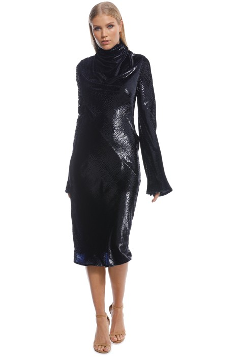 Ellery - Gotham Cowl Midi Dress - Black - Front