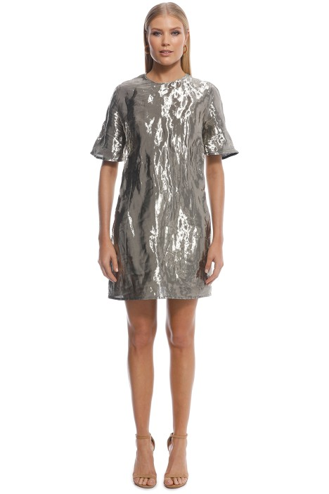 Ellery - Metal SS Mini Dress - Silver - Front