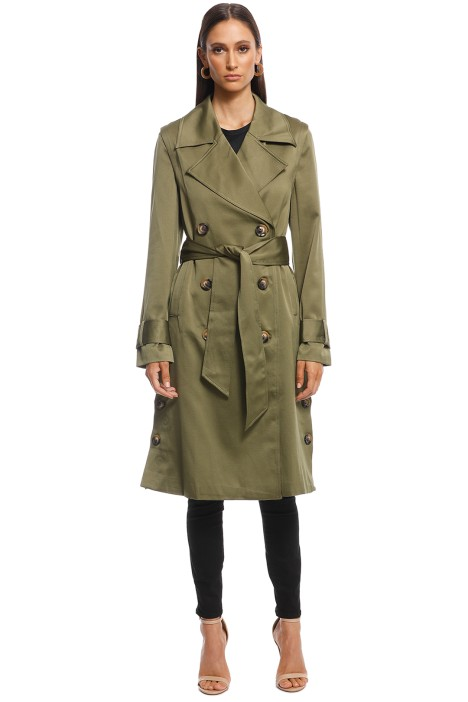 Elliatt - Decades Detachable Sleeve Trench - Khaki - Front
