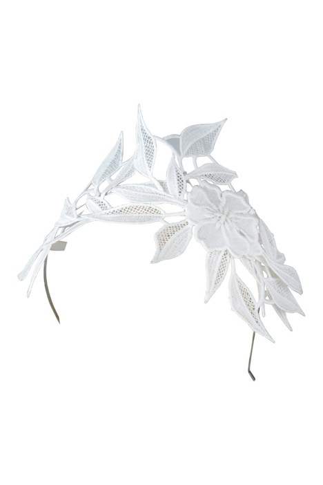 Morgan & Taylor - Shiloh Lace Applique Fascinator - White - Side
