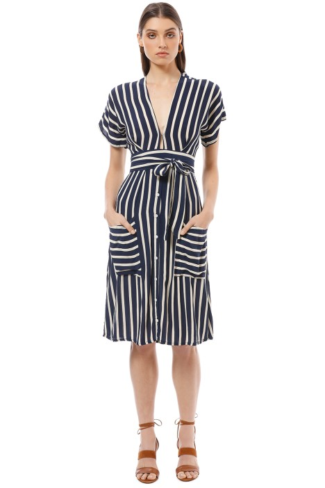 Faithfull - Milan Midi Dress - Navy Mazur Stripe - Front