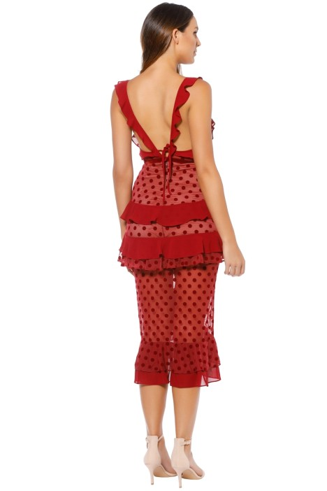 1eb6bcf3619f For Love and Lemons - Dotty Midi Dress - Red - Back