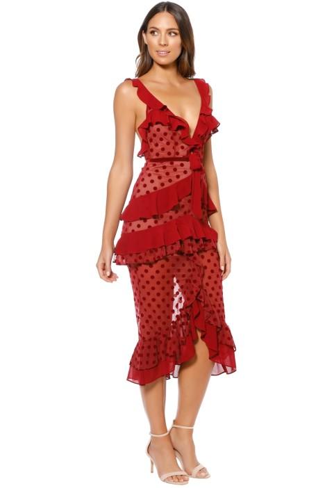10b4153e5c75 For Love and Lemons - Dotty Midi Dress - Red - Side