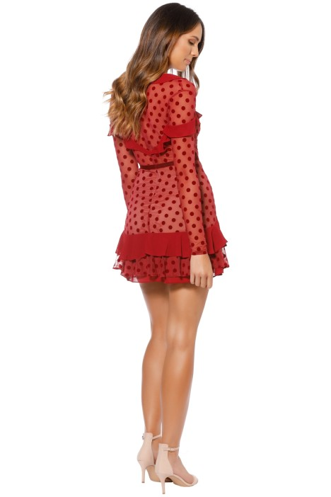 f788f61a2135 For Love and Lemons - Dotty Mini Dress - Berry Red - Back