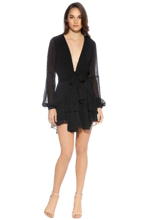 For Love and Lemons - Tarta Long Sleeve Mini Dress - Black - Front