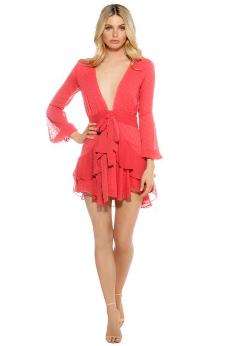 For Love and Lemons - Tarta Long Sleeve Mini Dress - Flamingo - Front
