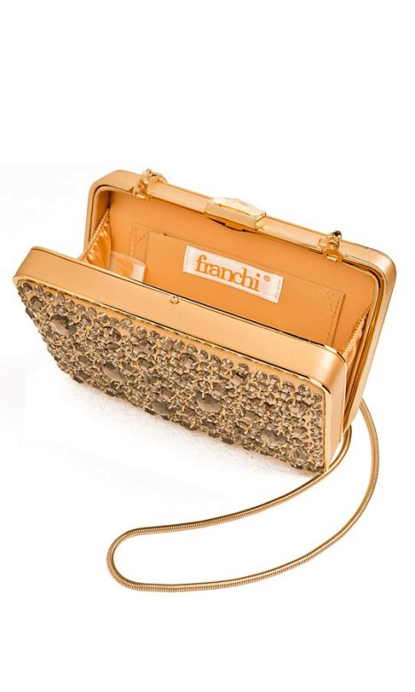 Franchi - Gold Jewel Box Clutch - Side