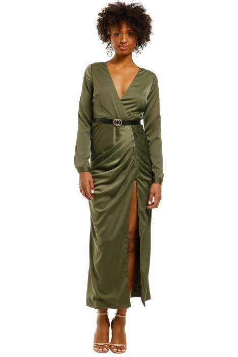 Friend-of-Audrey-Valerie-Thigh-Split-Dress-Khaki-Front