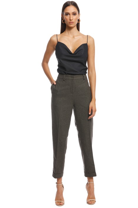 Friend of Audrey - Ellen Wool 7/8 Trousers - Khaki - Front