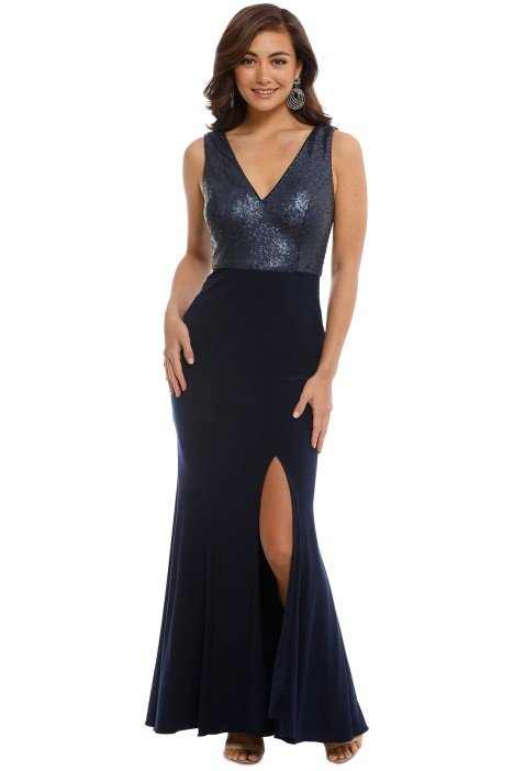 George - Jacqueline Gown - Navy - Front