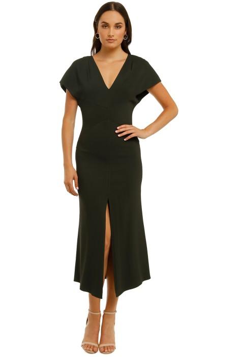 Ginger-and-Smart-Amplitude-V-Neck-Dress-Dark Kelp-Front