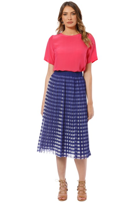 Gorman - Kinetic Pleat Skirt - Blue - Front