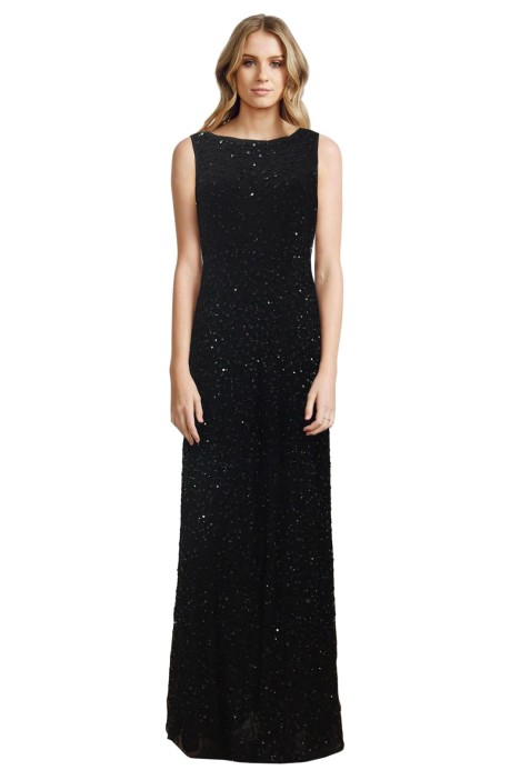 Grace and Blaze - Sequin Black Gown - Black - Front