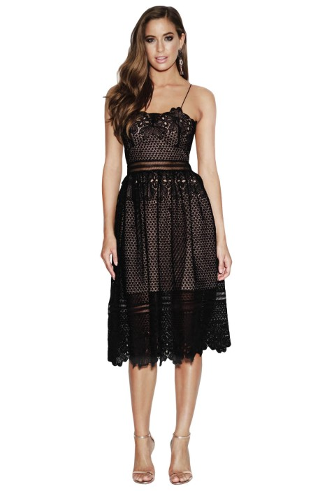 Grace & Hart - Frilling Around Flare Midi - Black - Front