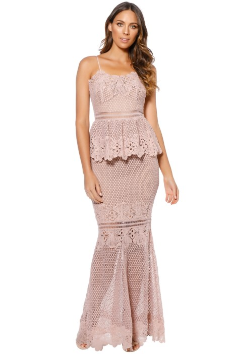 3e6497cf7e26 Frilling Around Gown in Nude by Grace   Hart for Rent