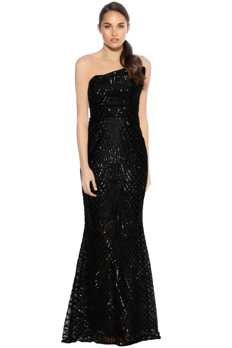 Grace and Hart - Shooting Stars Fitted Gown - Black - Front