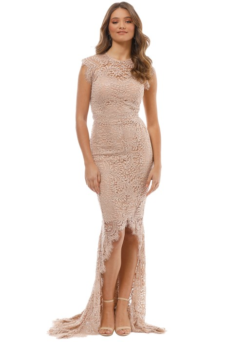 Mystic Lace Hi Lo Dress in Tan by Grace & Hart for Rent | GlamCorner