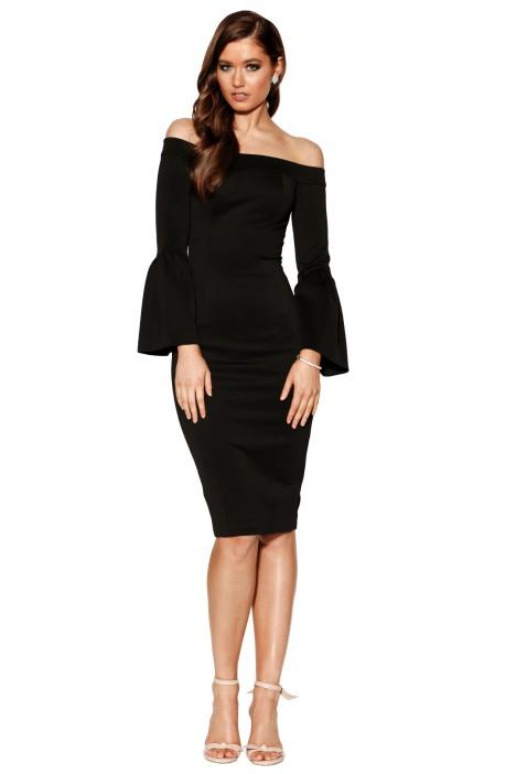Charm Off Shoulder Dress in Black by Grace & Hart for Rent