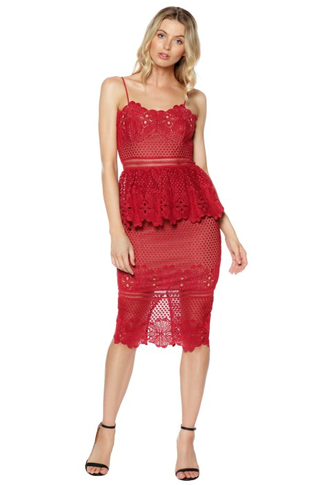 Grace & Hart - Frilling Around Fitted Midi - Cherry - Front