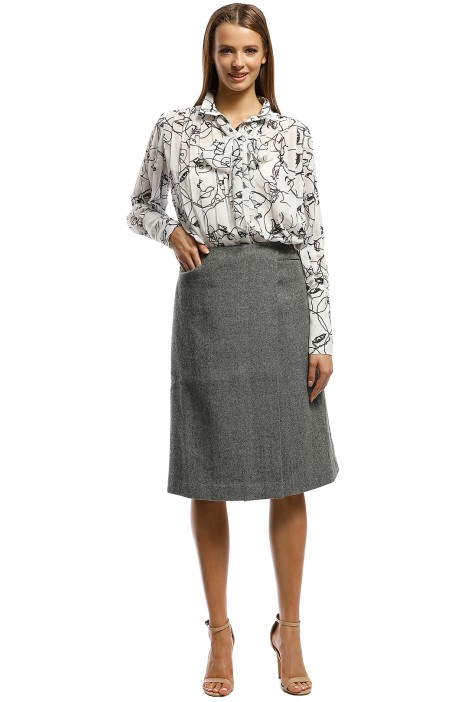 Grace Willow - Darby Blouse - Black White - Front