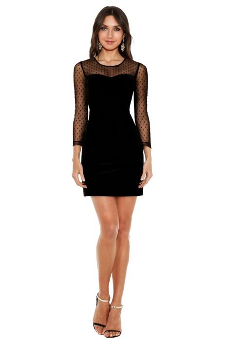 Guess - Velvet Illusion Bodycon Dress - Black - Front