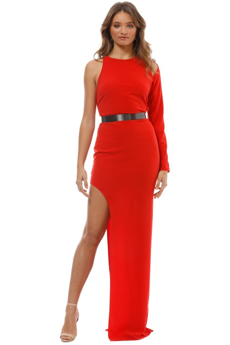 Halston Heritage - Asymmetric Sleeve Gown - Red - Front