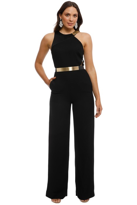Halston Heritage - Asymmetrical Jumpsuit - Black - Front