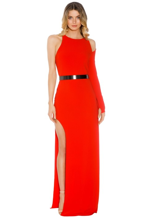 Halston Heritage - Asymmetrical Sleeve Gown - Lipstick - Front