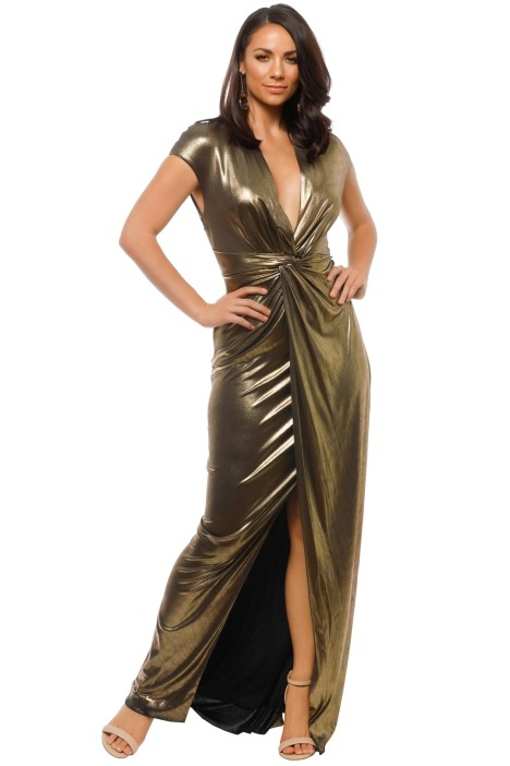 Halston Heritage - Cap Sleeve Gown - Gold - Front