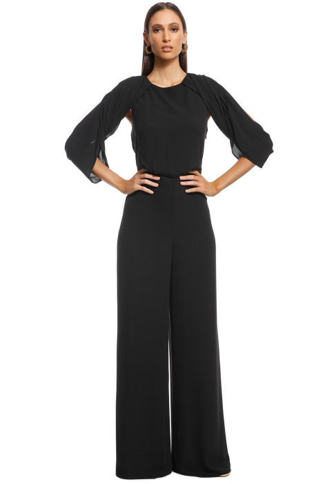Halston Heritage - Cold Shoulder Drape Back Jumpsuit - Black - Front