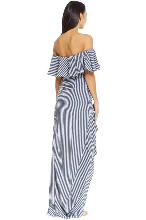 99390904722a Halston Heritage - Striped off Shoulder Gown - Navy Charcoal - Back