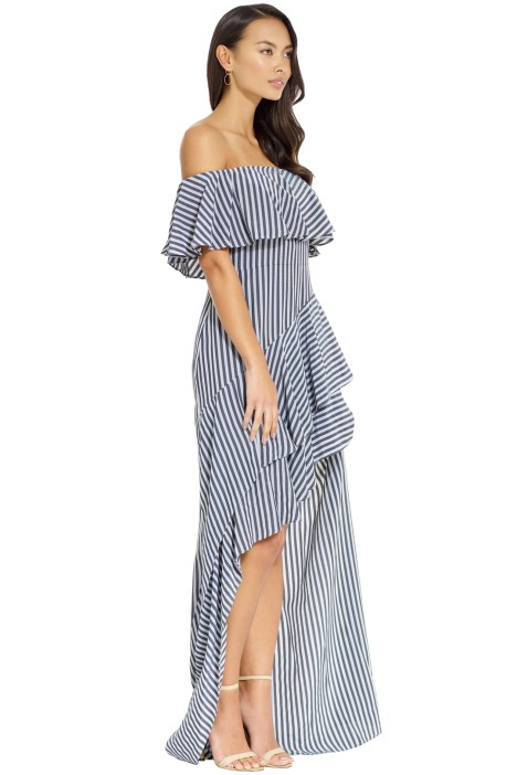 348989149960 Halston Heritage - Striped off Shoulder Gown - Navy Charcoal - Side