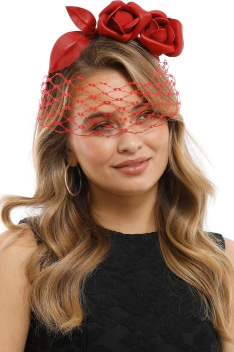 Heather McDowall - Ruby Fascinator - Red - Side Model